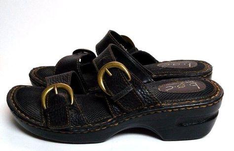 d4e1b8a62dfe Boc Born Bensi Sandals Slides Black Leather 2 Buckle Women s 9 M Shoes  C52103  BocBorn  Slides