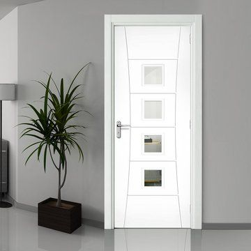 Pamplona White Primed Fire Door Clear Glass 1 2 Hour Fire Rated In 2020 Fire Doors Fire Doors Internal Glass French Doors