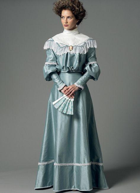 1800s Fashion, Edwardian Fashion, Vintage Fashion, Vintage Outfits, Vintage Dresses, 1800s Dresses, Victorian Dresses, Victorian Dress Costume, Victorian Women