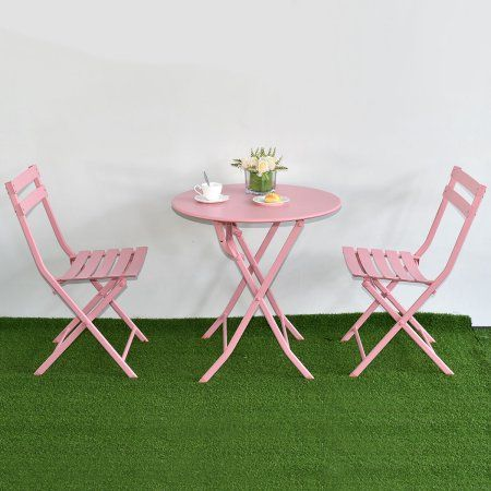 Costway 3 Pc Folding Table Chair Set Outdoor Patio Garden Pool Backyard Furniture Pink Image 2 Of 8 Backyard Furniture Backyard Pool Outdoor Folding Table