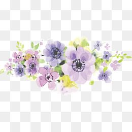 Hand Painted Watercolor Purple Romantic Flowers