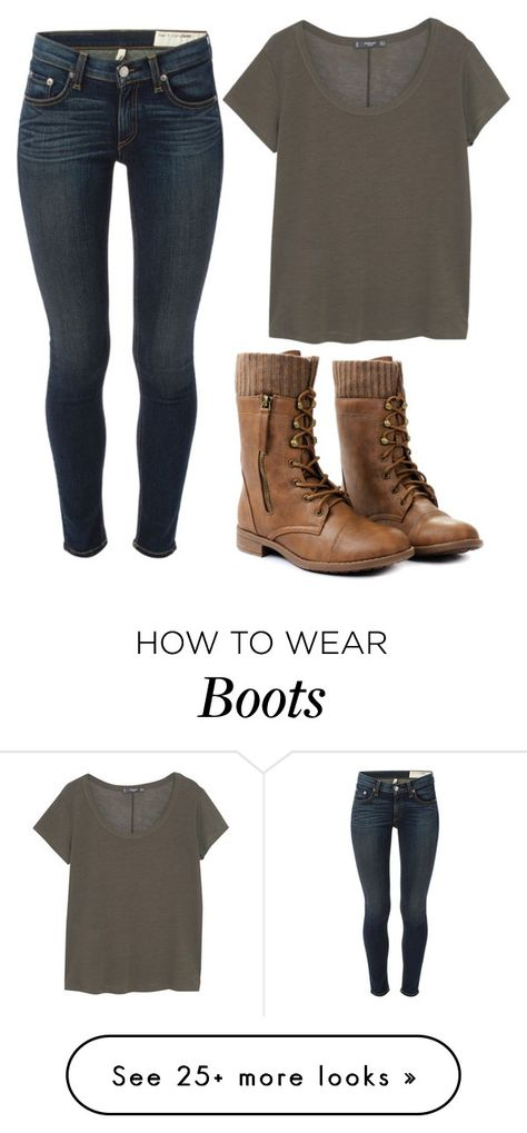 """Green And Boots"" by marsophie on Polyvore featuring MANGO and rag & bone"