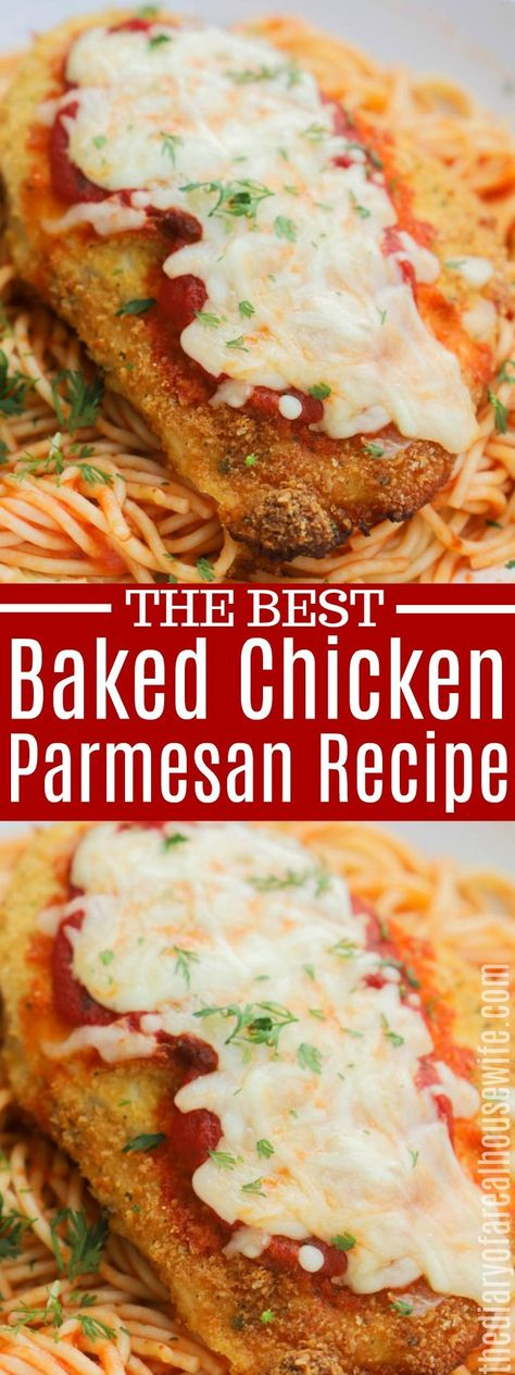 Baked Chicken Parmesan. I love this recipe, so simple to make. #chicken #dinner