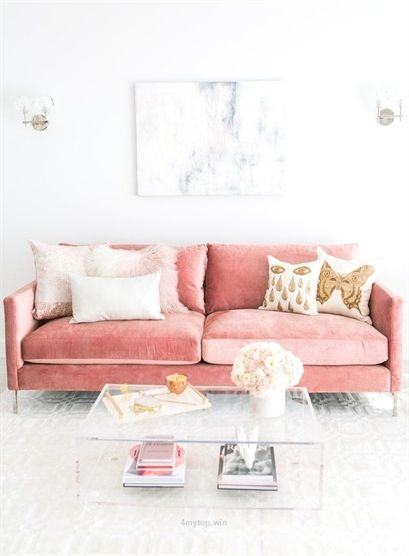 living room with custom pink velvet sofa,,,, pair the pink with gold / brass…