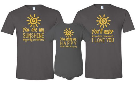0c8baddb You Are My Sunshine Father , Mother T-Shirt & Son / Daughter Bodysuit  Matching 3 Piece Set Father's Day Baby Shower Gift for First Time Dad on  Etsy, $49.50