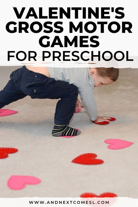 Looking for gross motor activities for Valentine's Day? Try these fun ideas using a package of hearts from the dollar store. Your toddlers and preschoolers will absolutely love these Valentine's Day gross motor activities! Preschool Valentine Crafts, Kinder Valentines, Valentines Games, Valentines Day Activities, Valentines Ideas For Preschoolers, Winter Crafts For Preschoolers, Homemade Valentines, Valentine Box, Valentine Wreath