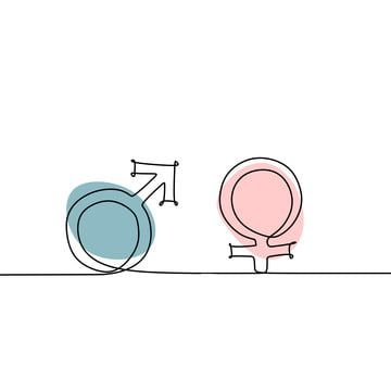 Male And Female Symbol Continuous Line Drawing Vector Illustration Concept Of Gender Sign With Blue And Pink Colors Female Clipart One Line Symbol Png And V Female Symbol Male Gender Symbol
