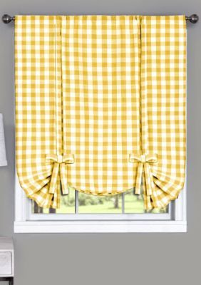 Buffalo Check Window Curtain Valance In 2020 With Images Yellow Kitchen Curtains Yellow Kitchen Wall Storage Unit