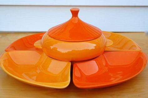 Ceramic Serving Set w Covered Center Dish .. Entertaining Set California Pottery.. Vintage 1960s .. Mod Hostess Lazy Susan Relish Tray