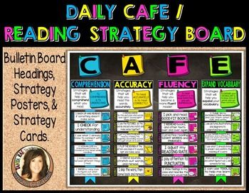 Daily CAFE & Reading Strategy Bulletin Board Resource with Pictures! Includes everything you need to display your reading strategies in your classroom. However, it is SO much more than just a display.