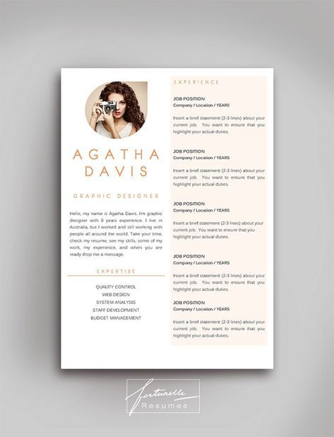 Resume Template 3 Page Cv Template Cover Letter Instant Download For Ms Word Agatha Idee Cv Cv Artistique Modele Cv