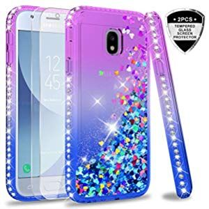 Leyi Case For Galaxy J3 2017 With Tempered Glass Screen Protector Girl Women 3d Glitter Liquid Cute Personali Samsung Galaxy Phone Samsung Transparent Silicone