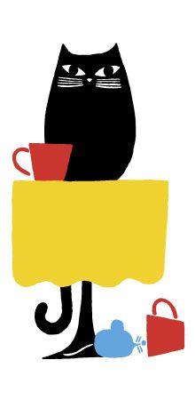 Marimekko - black cat with red cup