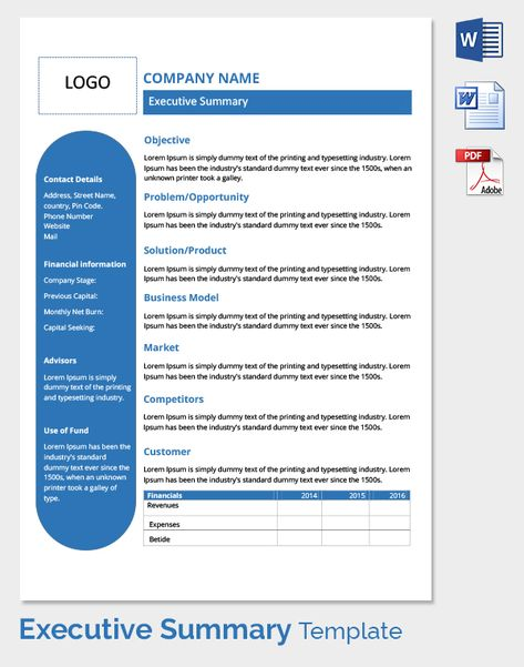 Executive summary template for startup a one page with all the - contact details template
