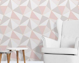 Apex Geometric Wallpaper Rose Gold Grey Pink Wall Feature Wall