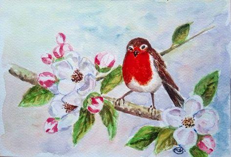 Robin Bird And Apple Blossom Garden Bird 2018 Watercolour By Marjans Art Art Paintings For Sale Apple Blossom Bird Artwork