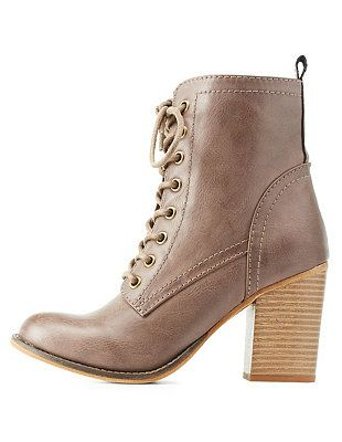 Burnished Chunky Heel Lace-Up Booties: Charlotte Russe