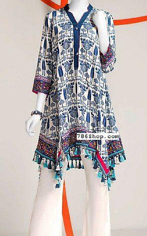 Off White Blue Lawn Kurti Buy Junaid Jamshed Pakistani Dresses And Clothing Online In Usa Uk Fashion Pakistani Dresses Indian Designer Wear