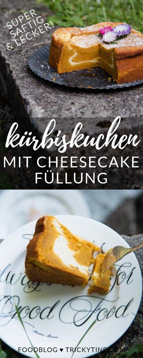 Super köstlicher Kürbiskuchen mit Cheesecake Füllung