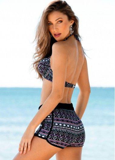 97bd7e2c6939a Geometric Print Halter Swimwear Bra and High Waist Shorts