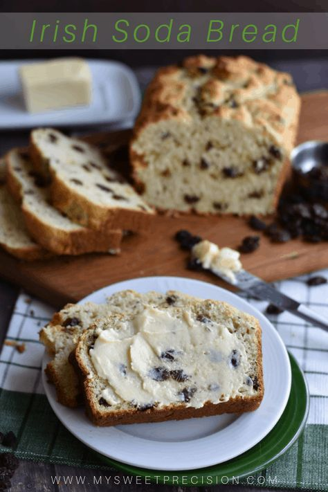 The sweet and peppery aroma of caraway seed makes this Irish soda bread recipe a winner. Dessert will be ready in a flash with only 10 ingredients in this quick bread! St. Patrick's Day is the perfect excuse to give this recipe a try. #mysweetprecision #saintpatrick'sday #quickbread