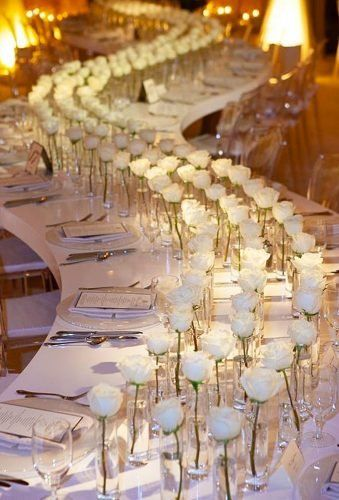 42 White Wedding Decoration Ideas ❤ white wedding decoration ideas floral table decor brajamandala Be creative when decorating your Big day. Take a look at addorable white wedding decoration ideas in our gallery! White Wedding Decorations, Reception Decorations, Event Decor, Wedding Centerpieces, White Wedding Receptions, Decor Wedding, White Roses Wedding, Wedding Flowers, White Weddings