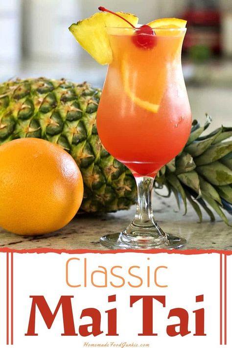 Mai Tai recipes for both The Trader Vic's Mai Tai and the Sweeter, more popular coconut rum and pineapple Mai Tai Recipe. Malibu Rum Drinks, Coconut Rum Drinks, Beach Drinks, Summer Drinks, Mixed Drinks With Malibu, Spiced Rum Drinks, Pool Drinks, Detox Drinks, Sweet Alcoholic Drinks