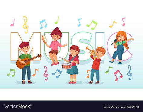 Kids playing music children musical instruments