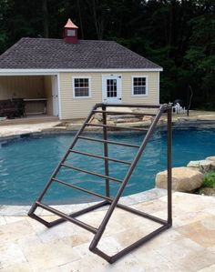 Outdoor Pool Towel Rack Bronze