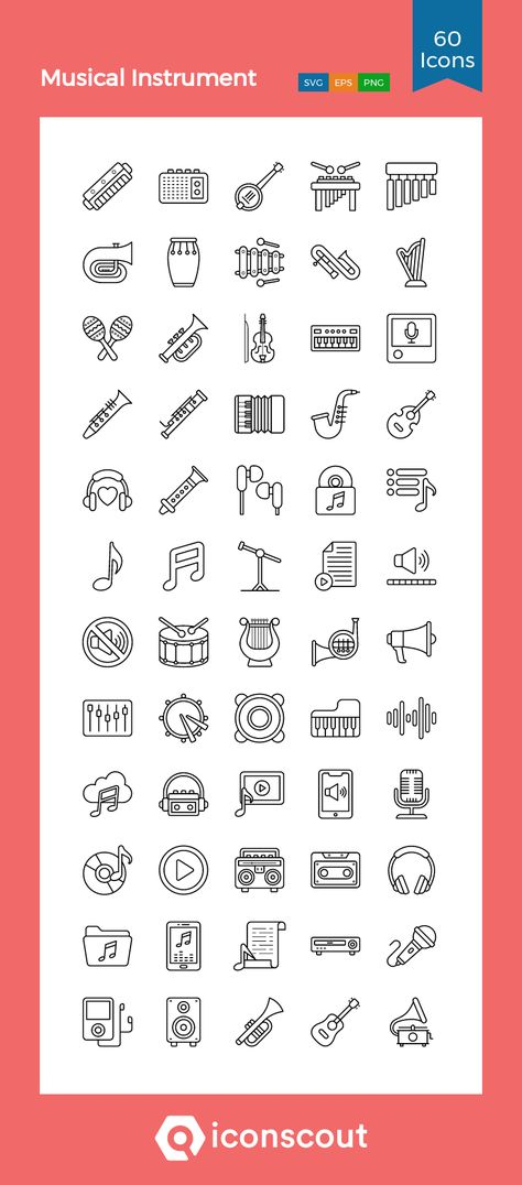 Download Musical Instrument Icon pack - Available in SVG, PNG, EPS, AI & Icon fonts