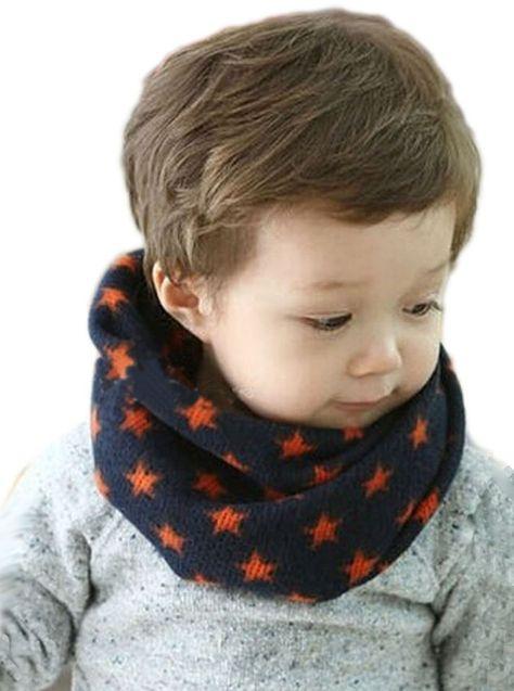 Fashion Cotton Velvet Bib Stars Beautiful Children Short Warm Plush Scarf W