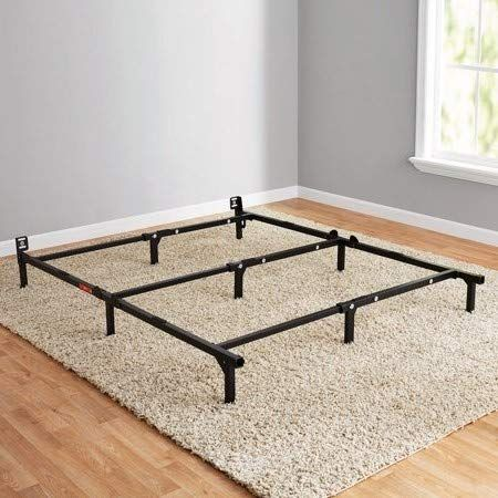 Hng Black Durable Steel Bed Frame Adjustable In Size Twin Double