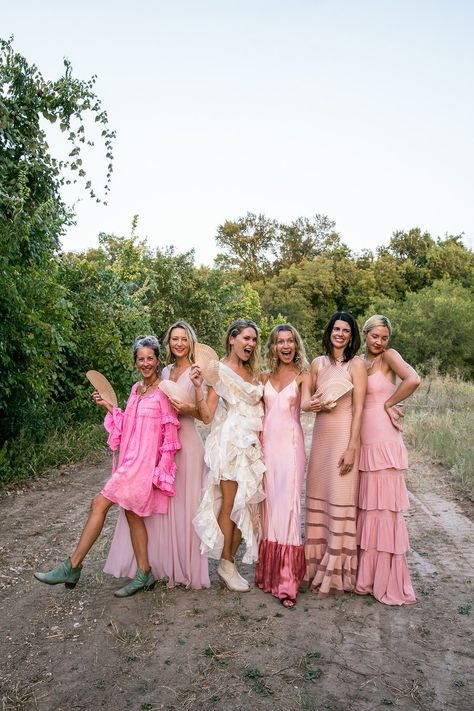 "Erin Wasson and Barth Tassy Combined Their Texas and French Riviera Roots With a ""Ranch Tropez"" Wedding in Austin You are in the right place about Bridesmaid Outfit casual Here we offer you the most b Erin Wasson, Bridesmaid Inspiration, Wedding Inspiration, Pink Bridesmaid Dresses, Wedding Dresses, Alternative Bridesmaid Dresses, Hot Pink Bridesmaids, Pink Dresses, Bridesmaids In Different Dresses"