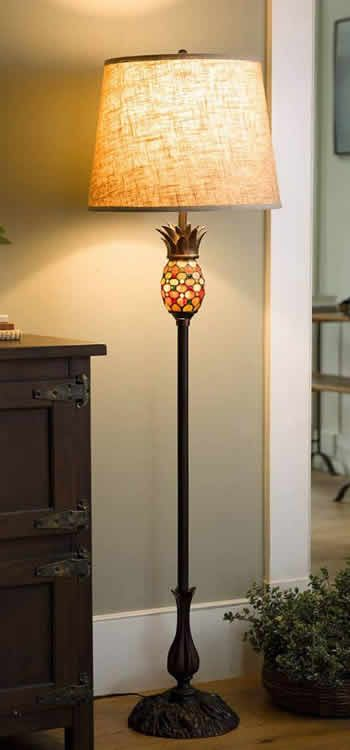 Plow Hearth 39111500 Pineapple Stained Glass Floor Lamp