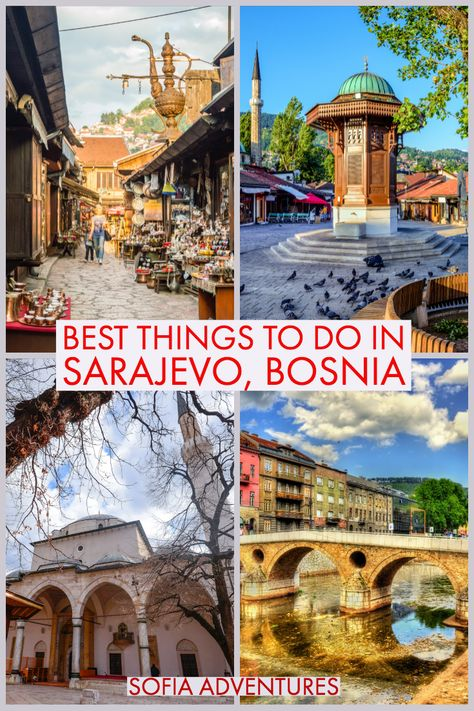 Want to know all the best things to do in Sarajevo, Bosnia and Herzegovina? Here's our Sarajevo travel guide with all of our favorite places to visit in Sarajevo, one of our favorite Balkan cities. From the Old Town of Bascarsija to the bobsled track to the famous bridge that started WWI, you'll find plenty to do in Sarajevo. | Bosnia travel | Sarajevo tips | Sarajevo photography | Sarajevo trip