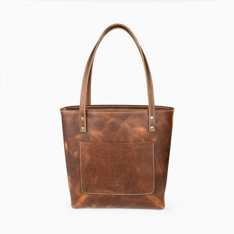 Market Leather Tote Bags | Saddle Brown