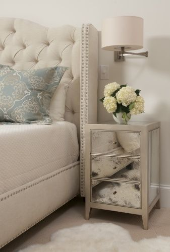 Master Bedroom - Tufted head board + mirrored nite table adds a hit of glam.  (re-pinned photo - Liz Carroll)