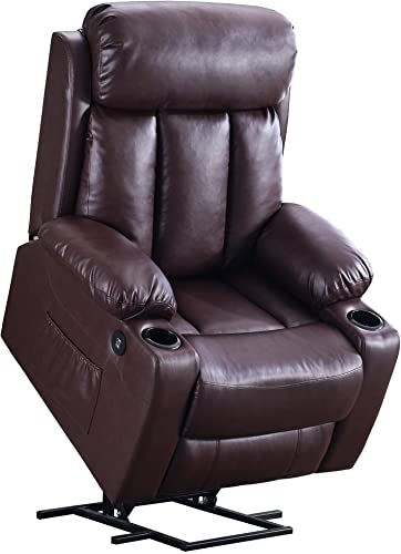 Amazing Offer On Mcombo Oversized Electric Power Lift Recliner Chair Sofa Elderly Big Tall People 3 Positions 2 Side Pockets Cup Holders Usb Ports Faux Leat In 2020 Dark Brown Living