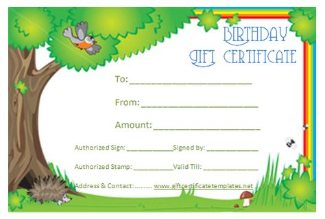 Green birthday gift certificate template Beautiful Printable - birthday gift certificate template
