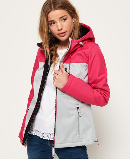 Superdry Jacke Damen HOODED WINDTREKKER Dark Navy Marl Hot Pink