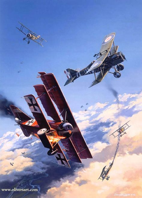 """/""""First Victory/"""" Roy Grinnell Aviation Print co-signed by WW I Ace George Vaughn"""