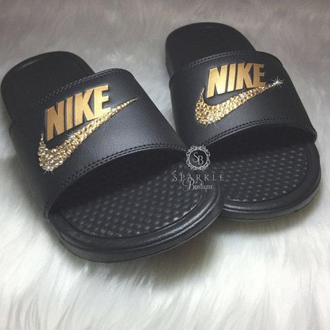 a91c53532 Bling Women's Benassi JDI Nike Slides Bedazzled with GOLD Crystals All  Sizes Sparkly Nike Slides Sli