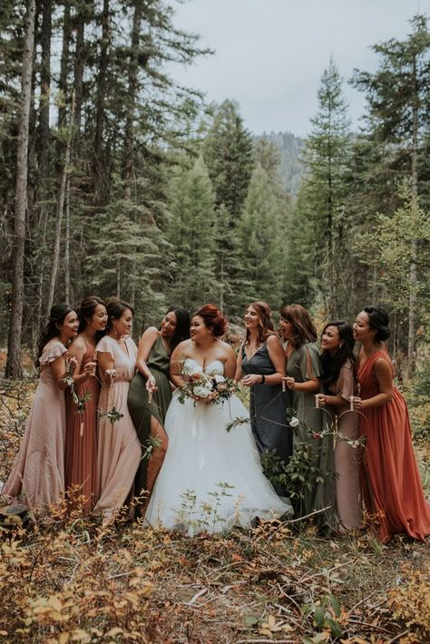 the Earthy Autumnal Tones in this No Business Lodge Wedding in McCall, Idaho Inspire Your Color Palette These bridesmaids wore mis-matched gowns in shades of green, orange, and pink for a fall feel Lodge Wedding, Boho Wedding, Dream Wedding, Fall Mountain Wedding, Rustic Wedding, Mountain Weddings, Perfect Wedding, Bodas Boho Chic, Fall Bridesmaid Dresses