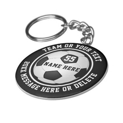 Black White Cheap Soccer Keychains Soccer Favors Zazzle Com Personalized Soccer Gift Personalized Sports Gifts Keychain