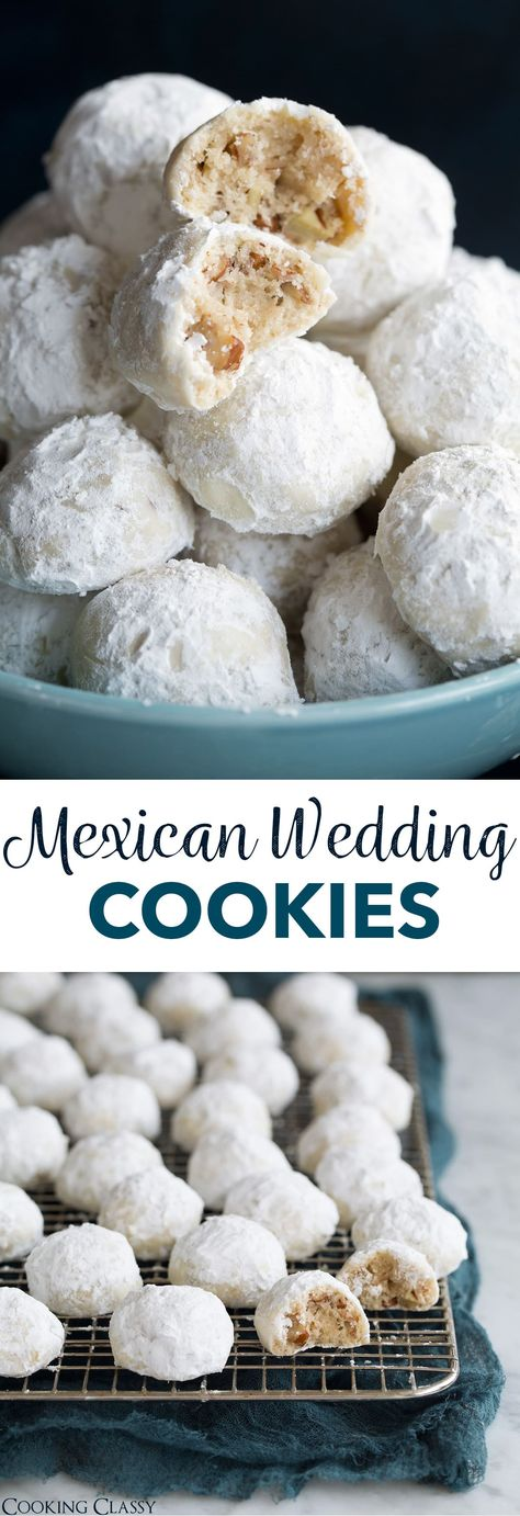 Mexican Wedding Cookies - These are one of the most dreamy cookies and they're so easy to make! Perfectly round, buttery, pecan dotted cookies are rolled in sweet blizzard of snowy white powdered sugar and you'll be savoring every tender bite. Easily one of my favorite holiday cookies! #weddingcookies #christmascookies #cookies #snowballs #pecansandies via @cookingclassy