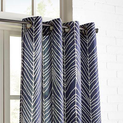 Brooklyn Herringbone Navy 96 Grommet Curtain Grommet Curtains