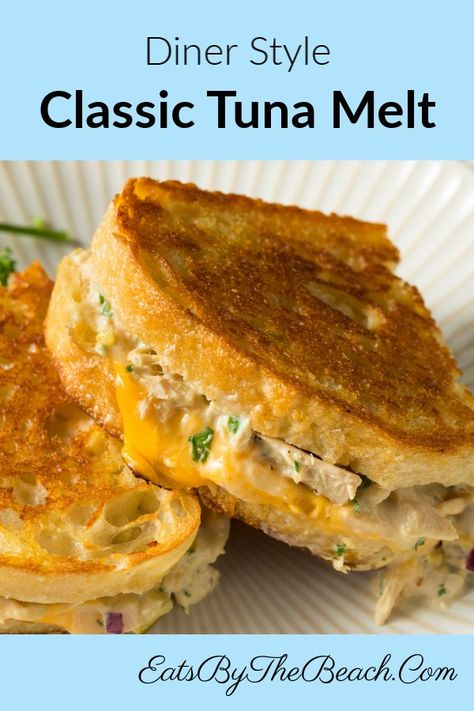 A classic tuna melt sandwich with cheese on buttery sourdough bread. A diner style sandwich that is the perfect comfort food. Tuna Melt Sandwich, Tuna Melts, Grilled Sandwich, Soup And Sandwich, Seafood Recipes, Dinner Recipes, Cooking Recipes, Tuna Fish Recipes, Canned Tuna Recipes