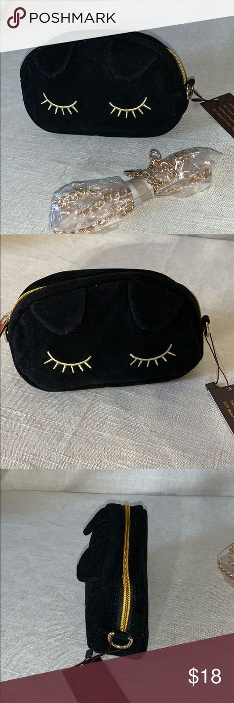 4ff7dfdecf0 ModCloth NuG Lovely and Lush Velvet Shoulder bag New with Tag-Lovely velvet  little shoulder bag, black cat face shaped, embroidered closed eyes and  petite ...