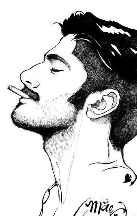 feutre man portrait illustration