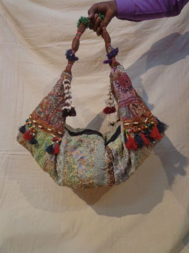 a7bf83a395 Vtg HOBO SLING HANDBAG Ethnic Embroidery   Tassels BANJARA TRIBLE TOTE BAG  INDIA